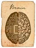 Постер, плакат: Электронный мозг старые рукописи с иллюстрации EPS 10 CMYK