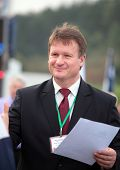 RAUBICHI, BELARUS - AUGUST 25: First Deputy Minister of forestry of Belarus F. Lisitsa on the award
