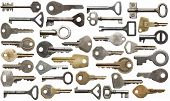 Collection of old keys, isolated.