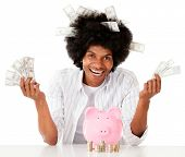Rich black man with his savings - isolated over a white background