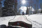 stock photo of pov  - Subjective point of view of riding snowmobile - JPG