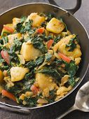 picture of sag  - Sag Aloo in a Karai Pan - JPG