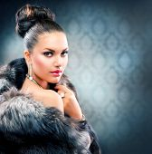 image of mink  - Beautiful Woman in Luxury Fur Coat - JPG