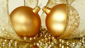Pair Of Gold Christmas Balls