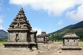 stock photo of arjuna  - Temples of Arjuna complex on plateau Dieng Java - JPG