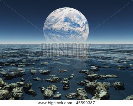 Постер, плакат: Скалистые водянистые пейзаж с планеты или земли с Луны терраформингу на расстоянии, холст на подрамнике