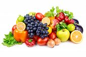 picture of food crops  - set of different fruits and vegetables isolated on white background - JPG