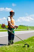 picture of trimmers  - Road landscapers cutting grass along the road using string lawn trimmers - JPG