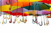 picture of nylons  - A lot of umbrellas in diverse colors isolated over a white background - JPG