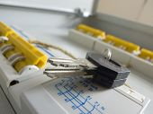 stock photo of busbar  - key on New power control panel - JPG