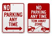 foto of traffic rules  - Set of red and white american road signs - JPG
