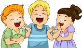 foto of laugh out loud  - Illustration of Little Male and Female Kids Laughing Hard - JPG