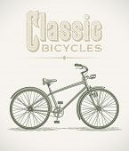 stock photo of dynamo  - Vintage illustration with a classic cruiser bicycle - JPG