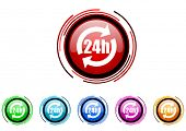 24h circle web glossy icon colorful set
