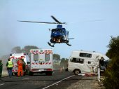 picture of lifting-off  - helicopter lifts off with patient onboard  - JPG
