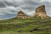 stock photo of western nebraska  - A pair of rock formations in western Nebraska - JPG