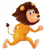 Illustration of a running lion on a white background
