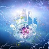 stock photo of higgs boson  - Open hand and particle design - JPG