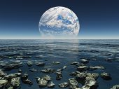Rocky Watery Landscape with planet or earth with terraformed moon in the distance