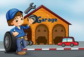 picture of kinetic  - Illustration of a boy standing in front of a garage - JPG
