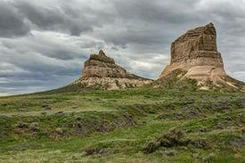 stock photo of western nebraska  - A pair of rock formations in western Nebraska - JPG