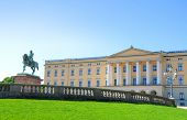 stock photo of royal palace  - Panoramic view on the Royal Palace and gardens in Oslo - JPG