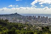 foto of waikiki  - A view of Waikiki and Diamond Head as seen from Tantalus in the Koolau Mountain Range on Oahu Hawaii - JPG