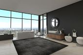 foto of penthouse  - 3d rendering of exclusive Luxury Bathroom Interior in a modern Penthouse - JPG