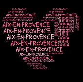 Aix-en-Provence word cloud in pink letters against black background