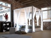 image of canopy  - White canopy bed in a loft with brick wall - JPG