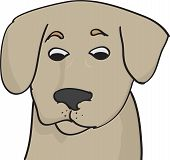 picture of lovable  - Cartoon illustration of the head of a lovable little brown dog or puppy looking down with a wistful expression on white - JPG