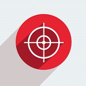 picture of crosshair  - Vector red circle icon  on gray background - JPG
