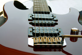 pic of ibanez  - Electric Rock Guitar showing strings and body  - JPG