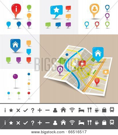 Folded City Map With Gps Pin Icons And Markers poster