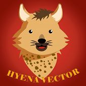 image of hyenas  - a happy face of a hyena in a red background - JPG