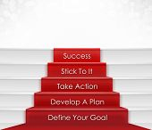 picture of entrepreneur  - Five step to success concept which include goal - JPG