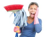 stock photo of cleaning house  - Spring cleaning despair  - JPG