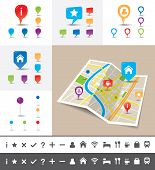 image of imaginary  - A folded map of an imaginary city with icons and pin template - JPG