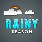 stock photo of rainy season  - Shiny text Rainy Season made by blue waves - JPG