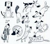 pic of funky  - Doodles with cute funky dogs on white - JPG