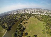 stock photo of kensington  - Aeral view on Hyde Park and London city in the distance - JPG