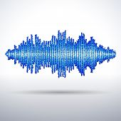 picture of waveform  - Sound waveform made of chaotic blue balls - JPG
