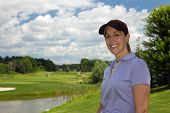 picture of ladies golf  - Attractice woman golfer on the golf course - JPG