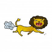 image of farting  - cartoon farting lion - JPG