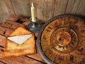 stock photo of zodiac  - mystical concept still life with zodiac sighs - JPG