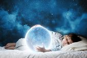 image of sleeping  - Cute boy sleeping in bed with moon - JPG
