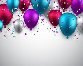 image of confetti  - Celebration background with colorful balloons and confetti - JPG