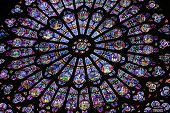 stock photo of notre dame  - Rose Window at Notre Dame Cathedral in Paris - JPG