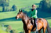 stock photo of bridle  - Woman riding a horse - JPG