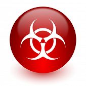 picture of biohazard symbol  - biohazard red computer icon on white background - JPG